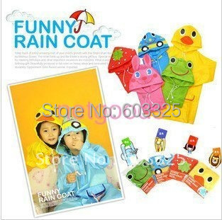 cartoon design children raincoat poncho rainwear four animal color option(China (Mainland))