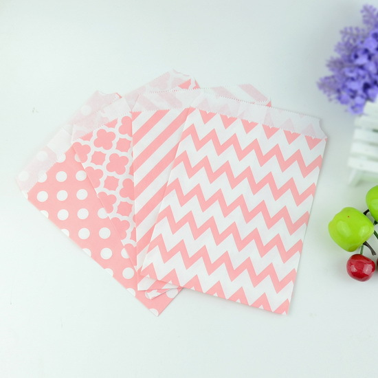 Event Party Supplies 5*7 inch 100 pcs/ lot Chevron Porpcorn Candy Kraft Paper Treat Favor Bag Goodie Gift Bags for Decoration(China (Mainland))