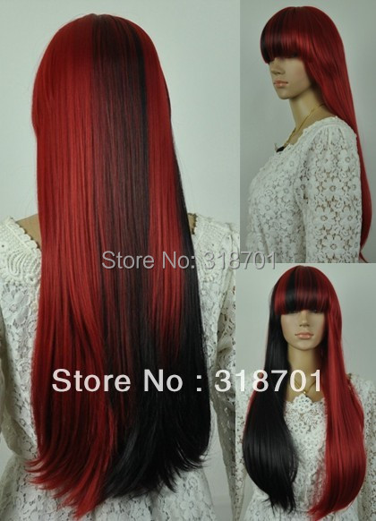 Free shipping Long Straight Black And Red Mixed Beautiful lolita wig Anime Wig<br><br>Aliexpress