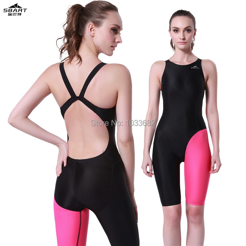 SBART free shipping  one piece competition knee length waterproof chlorine resistant women's swimwear sports swimming  swimsuit