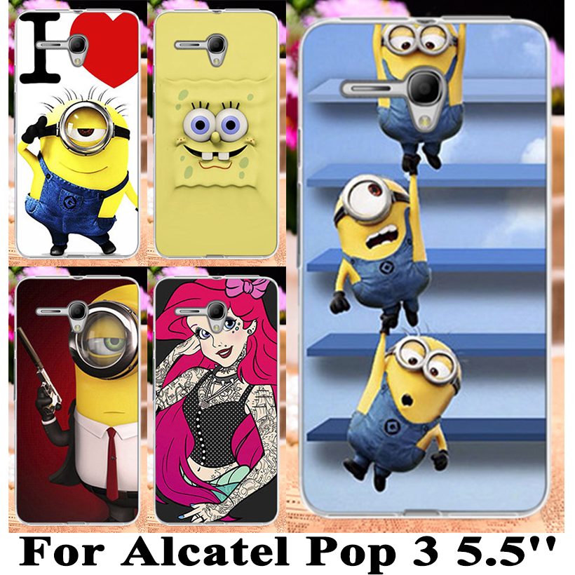 Only 5.5inch Cute Cartoon Animal Hard Phone Case For Alcatel OneTouch Pop 3 5.5 inch 5025 5025D One Touch Pop3 Case Cover Shell(China (Mainland))