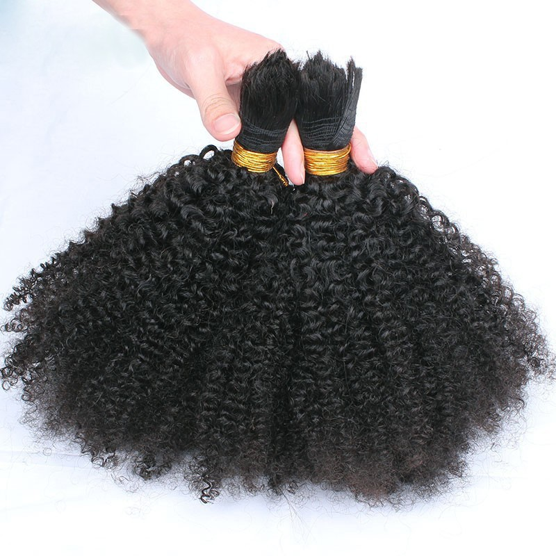 Beautiful Kinky Curly virgin hair 100% Brazilian Hair Bulk 1pc/lot high grade 10A Brazilian Kinky Curly human hair Bulk on sale