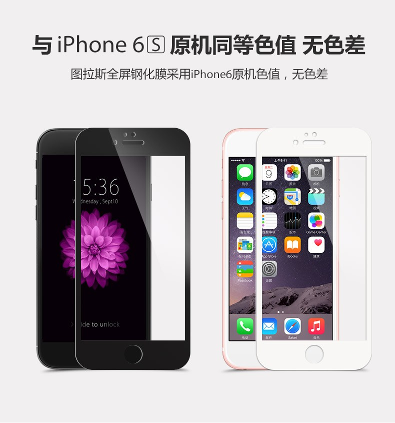 0.33mm Full Screen Colorful 9H Tempered Glass For iPhone 5 5S 5C SE 6 6S Plus Front Screen Protector Protective Film Case