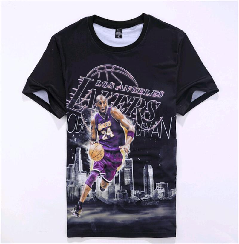 2016 Newest design Men Women 3D print Basketball Star Black Mamba Kobe Bryant jersey Round Neck Short Sleeve t shirt tops(China (Mainland))