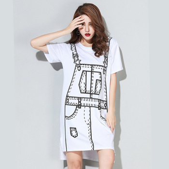 Europe fashion summer 2016 new design women's print T-shirt casual dress loose black/white street style dress