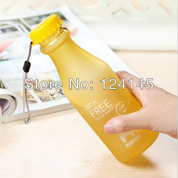 2014 Real Top Fashion None Sports Water Bottle 500 Ml Yellow Unbreakable Portable Leak-proof Travel Camping Cycling Water Bottle(China (Mainland))