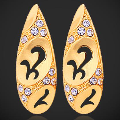 New 18K Real Gold Plated Cute Rhinestone Stud Earrings Basketball Wives Earrings Fashion Jewelry For Women Wholesale MGC E310(China (Mainland))