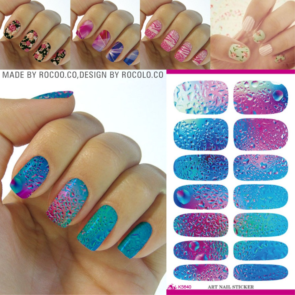 K5640 Fashion Nail Art Stickers Mysterious Blue Ocean Drops Water Transfer Nail Sticker 3d Manicure Minx Nail Wraps Foil Decals(China (Mainland))