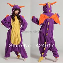 Взрослые пижамы косплей-костюмы япония аниме фиолетовый Spyro дракон милый фланель животное Onesie Pyjama