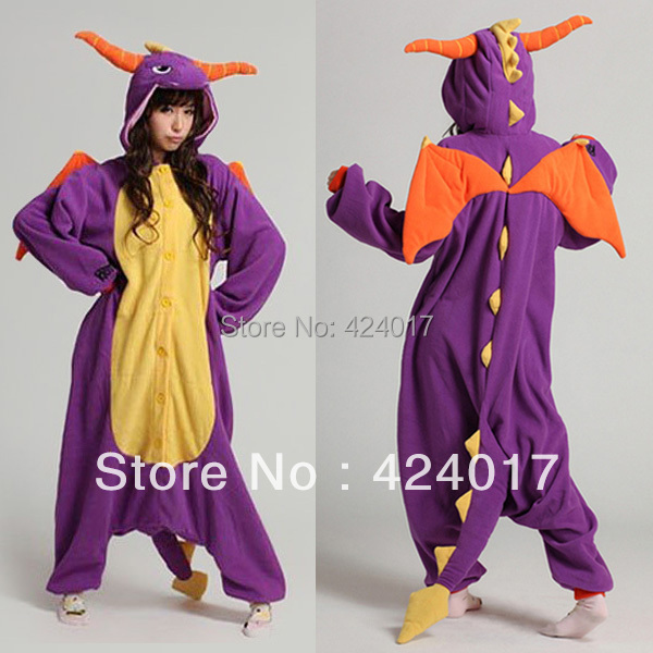 2015 Fashion Adult Pajamas Cosplay Costume Japan Anime Purple Spyro Dragon Cute Flannel Animal Onesie Pyjama(China (Mainland))