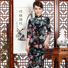 M&T 2015 Spring and autumn half sleeve cheongsam chinese style women's velvet one-piece dress cheongsam qipao
