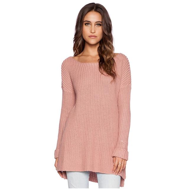 2015 новый Batwing рукавом женщин свитер розовый вязаный свитер с свободного покроя ...
