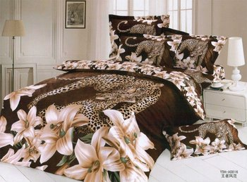 Hot Fashion New  Beautiful 100% Cotton 4pc Doona Duvet QUILT Cover Set bedding set Queen /  King size  leopard & lily