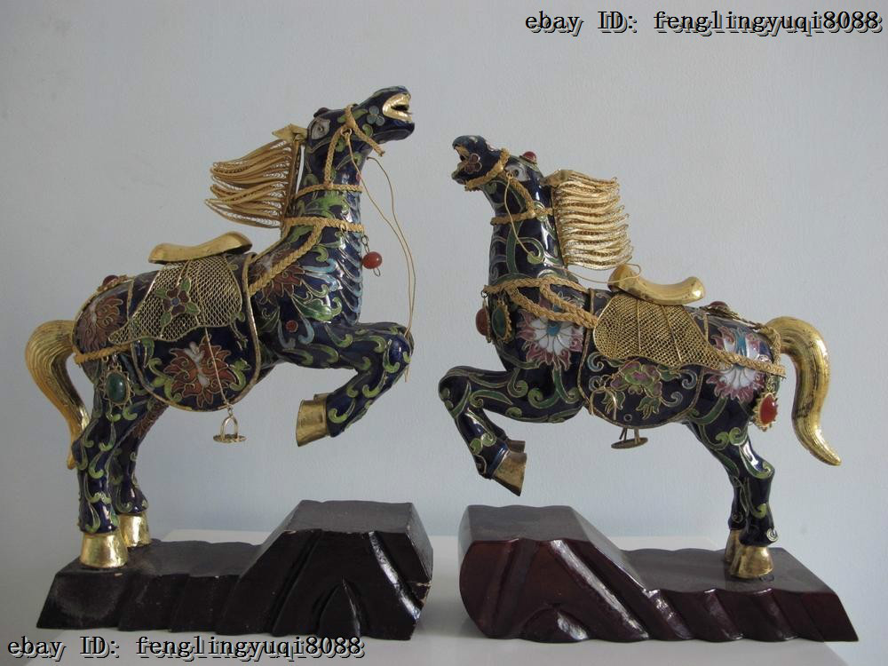 Chinese Royal Copper Bronze Cloisonne Enamel Gild Lucky Broncos War Horse Pair(China (Mainland))