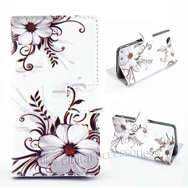 New 2014 Big Brown Flower Design Leather Left Right Hard Case Cover Sony Xperia Z1 mini Z1 Compact D5503 Free
