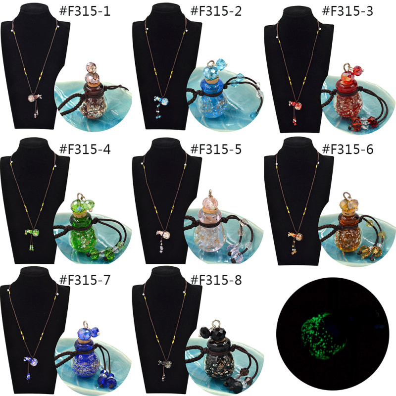 New Arrival Diffuser Perfume Refillable Coloured Glaze Essential Oil Bottle Pendant Noctilucent Necklace(China (Mainland))