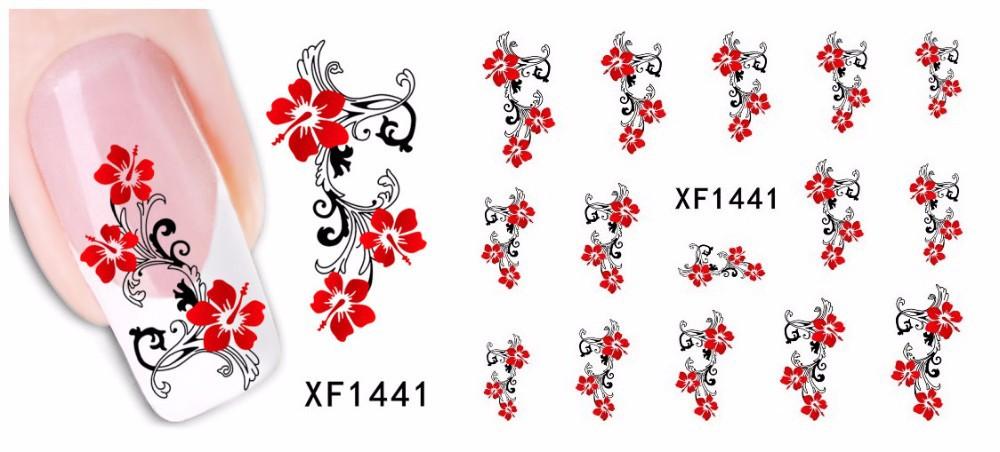 1 Folha de 2015 Top Vender Flores Arcos Etc Transferência de Água etiqueta Da Arte Do Prego Decalques Unhas Wraps Tatuagens Temporárias Watermark Prego ferramentas