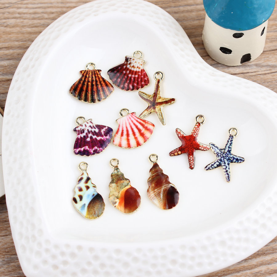 12pcs/Lot Mixed Designs Kawaii Sea Shell Alloy Charms, Star Fish Metal Charms, DIY Fashion Jewelry for Necklace Pendant Charms(China (Mainland))