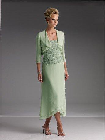 Tea Length Mother Of The Bride Dresses With Jacket - Ocodea.com