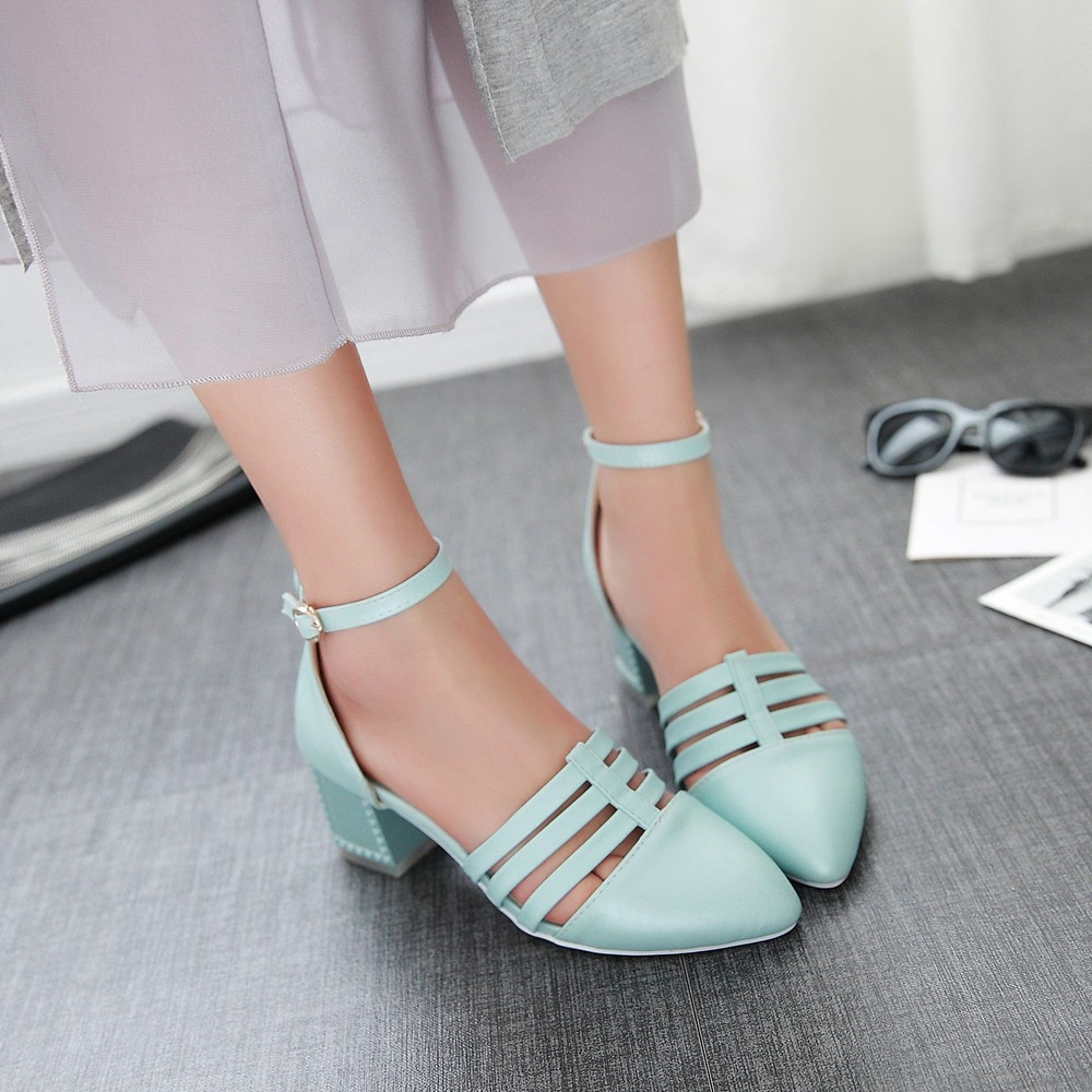 2016 fashion women's summer sandals pointed toe strappy laidies low thick heels sandals blue pink causal big women shoes W-30(China (Mainland))