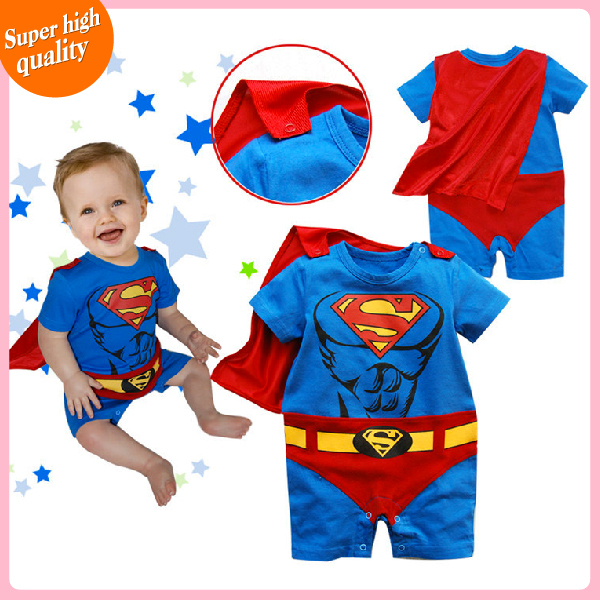 baby clothing baby boy rompers baby boy clothes cute superman costume short sleeve cotton batman cartoon clothes(China (Mainland))