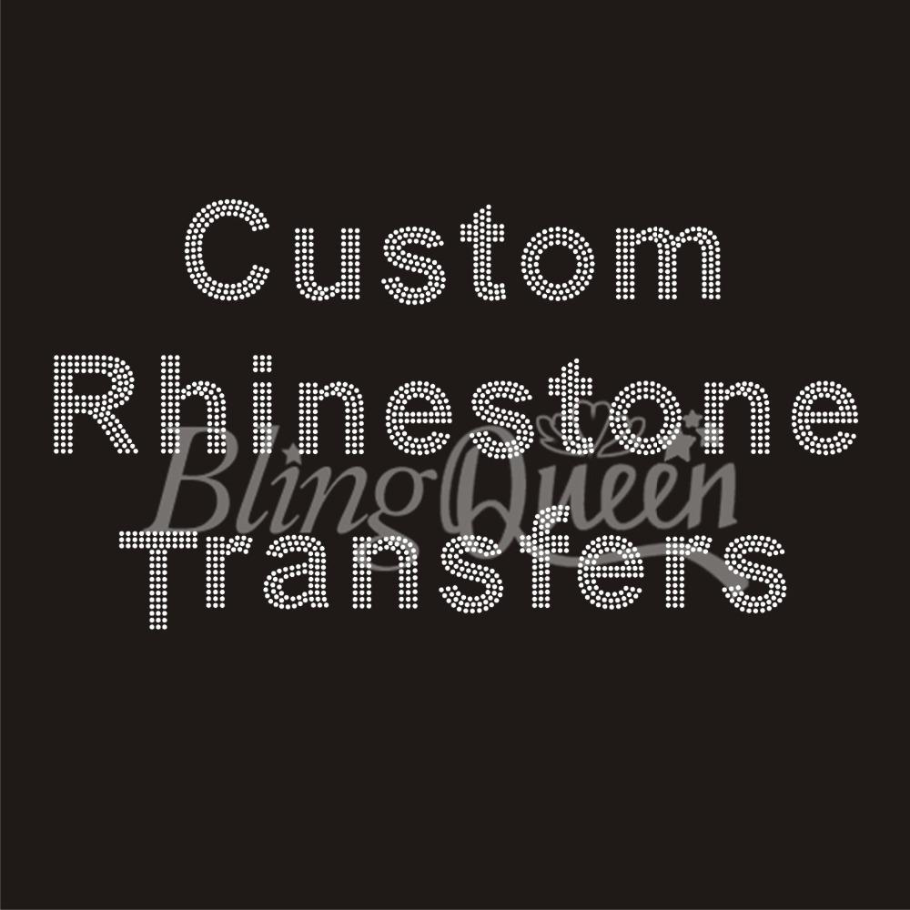 50PCS/LOT Custom Rhinestone Transfers Hot Fix Iron On Appliques(China (Mainland))