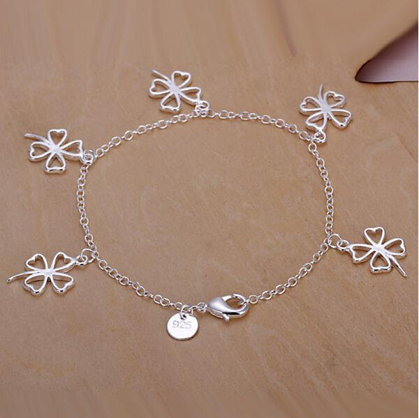 Fashion 925 Sterling Silver Bracelets For Women Charm Lucky Grass Clover Braclets Chain Jewelry Pulseras de plata 925 H185(China (Mainland))
