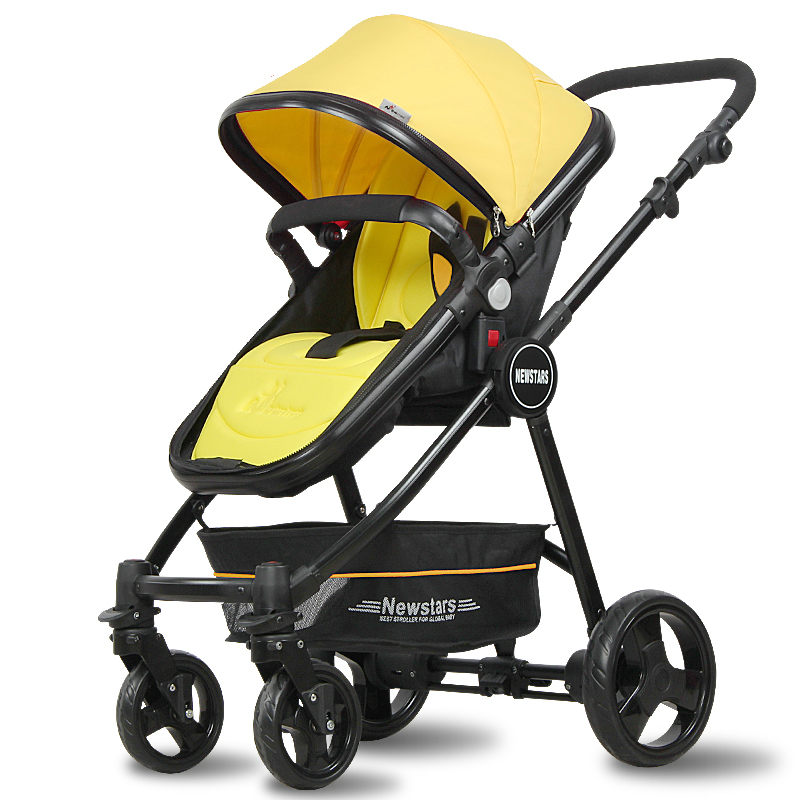 Yellow Special Baby Stroller High Landscape Baby Trolley Baby Buggy Can Sit and Light Free Inflatable Wheel Cart Baby Carriage(China (Mainland))