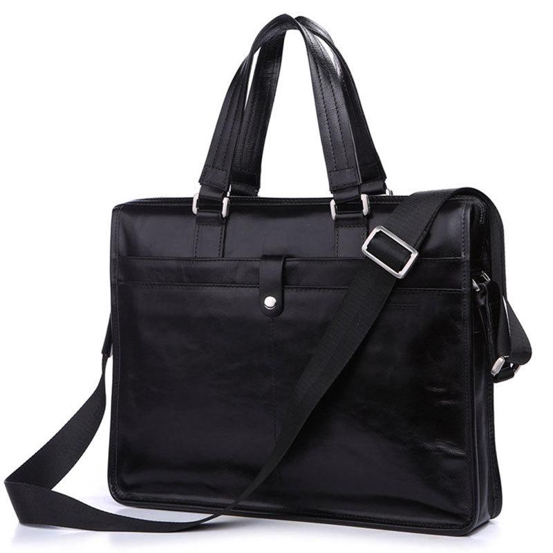 "Multifunctional Fashion 100% Genuine Cowhide Classic Black Men Leather Briefcase Business Handbag Fit 14"" Laptop # PR077181A(China (Mainland))"