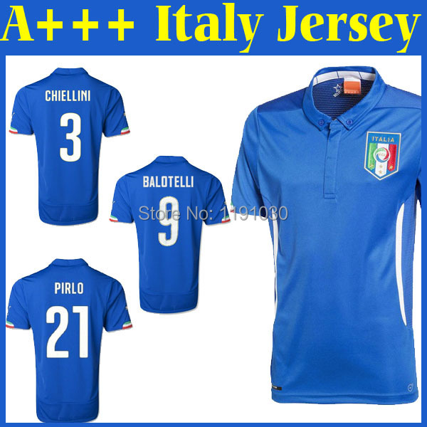 Top Quality A+++ Italy World Cup 2014 Thailand Soccer Jerseys Free Shipping Football Shirt Pirlo Balotelli Customized(China (Mainland))