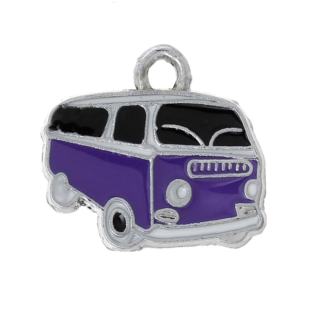 "Charm Pendants Bus Silver Tone Purple & Black Enamel 20mm( 6/8"") x 19mm( 6/8""), 10 PCs 2015 new(China (Mainland))"