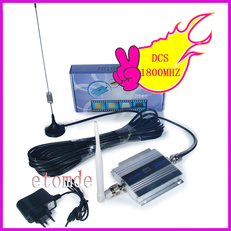 Free shipping Wholesale GSM Booster DCS 1800MHz Signal Amplifier RF Repeater Kit for Mobile Phone Signal with antenna(China (Mainland))