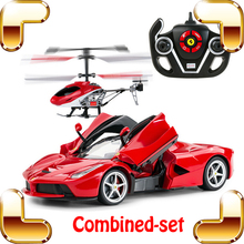 New Arrival World First Combo Car Helicopter LA 1/14 2.4G RC Race Car Drive Pro Luxury Gift For Boys Electric Toy