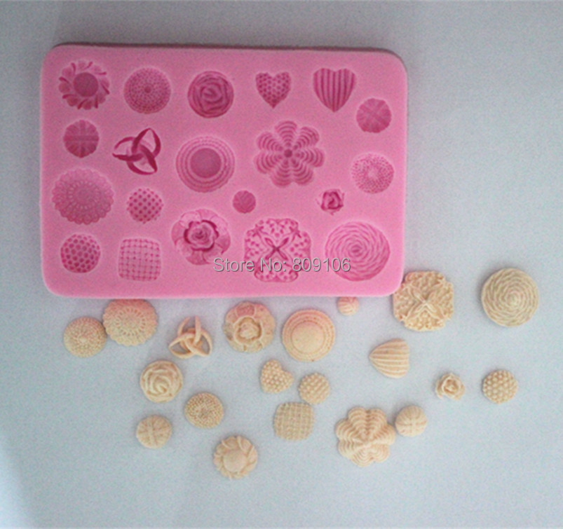 Wholesale/retail,free shipping,1 PCS Button collection Silicone fondant cake mold clay chocolate mouldFM(China (Mainland))