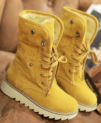 Women autumn winter short snow boots thick cotton-padded solid color casual flat heels lace-up shoes large plus size 40-43 - Forever18 Store store