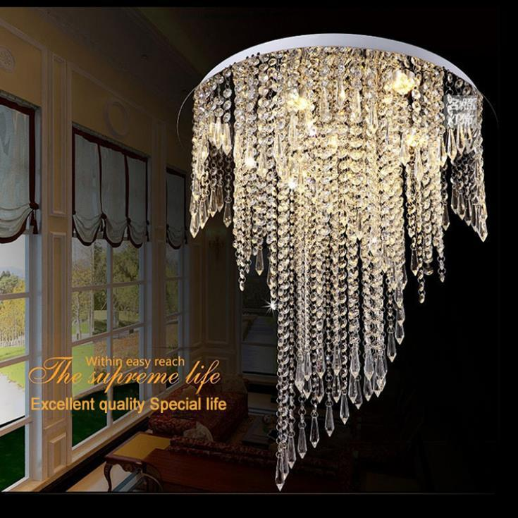Free shipping 2015 Modern spiral design flush mount K9 crystal ceiling chandeliers light fixtures Dia50*H55cm led bulbs 220v<br><br>Aliexpress