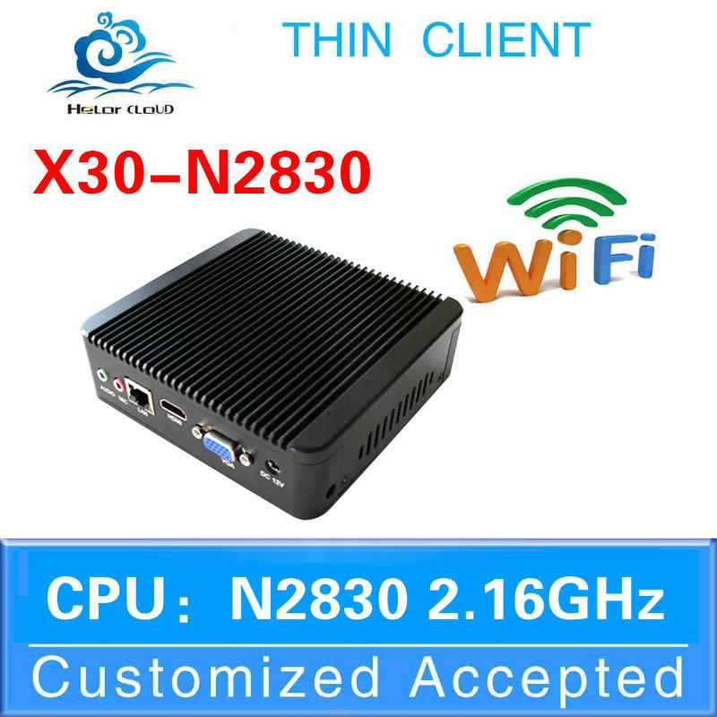 wholesale price X30-N2830 dual core n2830 fanless linux pc mini industrial pc thin client wifi support full screen movies(China (Mainland))