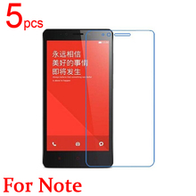 5pcs Ultra Clear LCD Screen Protector Film Cover For Xiaomi Redmi Note 2 Hongmi Note 2 Protective Film  +  cloth