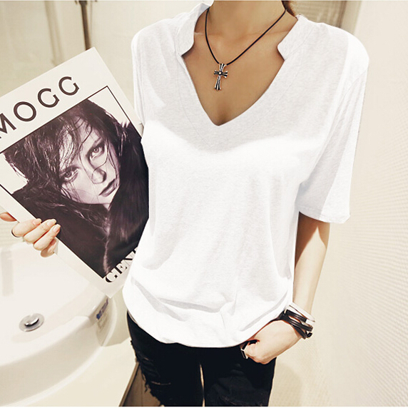 2015 summer feminina camisetas y tops tees women's t shirt women t-shirt Cotton woman clothes female v-neck tshirt plus size xxl(China (Mainland))