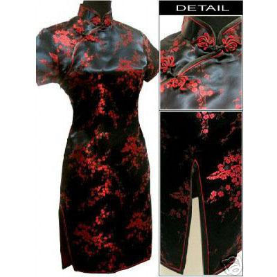 Black red Chinese Women's Satin Cheongsam Qipao Mini Evening Dress Size:S M L XL XXL XXXL 4XL 5XL 6XL(China (Mainland))