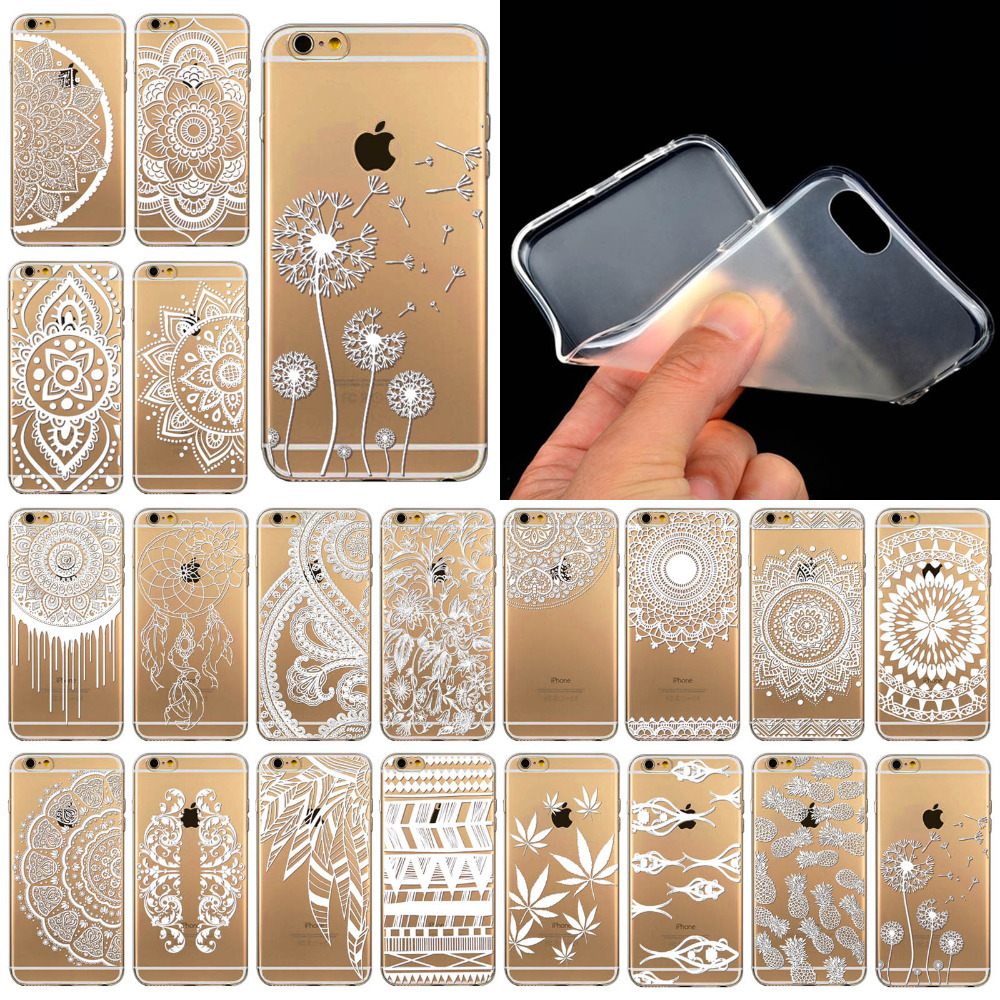 Phone Cases for iPhone 6 6s Luxury Silicon Clear Vintage White Paisley Flower soft Housing Back Cover Mobile Phone Bag(China (Mainland))