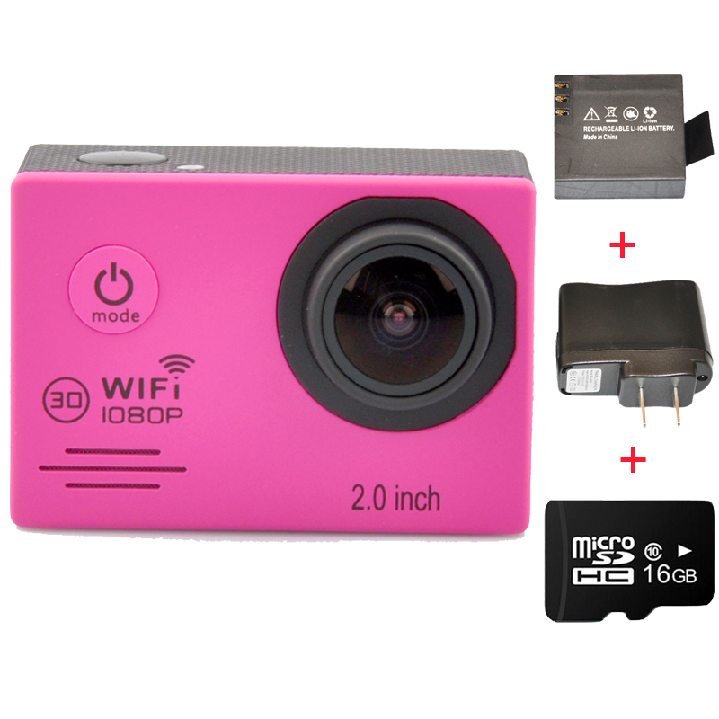 Full HD 1080P 30FPS With WiFi 2.0'' LCD Screen Sport Action Camera + Extra Charger + Battery + 16GB Class10 Micro SD Card