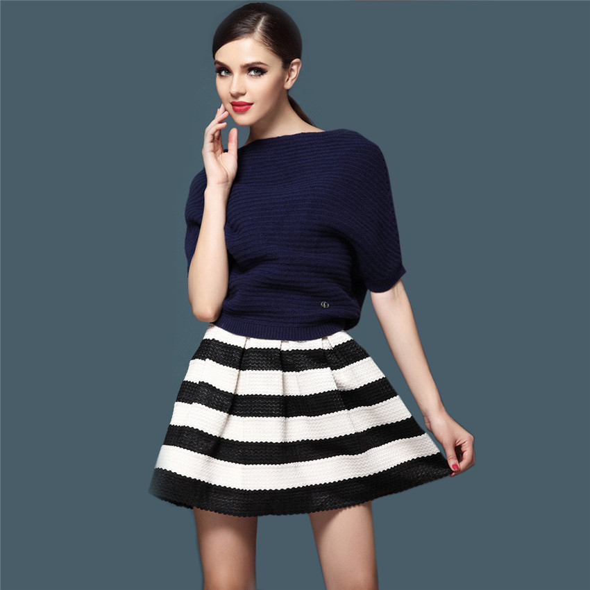 2015 Womens High Waist Retro Striped Mini Pleated Skirt Summer New Ladies Vintage Black White Short Skirts Flared - Wischoo--Shopping Wise Choose store