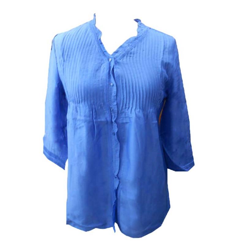 Plus Size 2015 Autumn Woven Blouse Women Casual Shirts Ladies V-neck Top Blusas Shirt Silk Cotton Blouses cheap clothes china(China (Mainland))