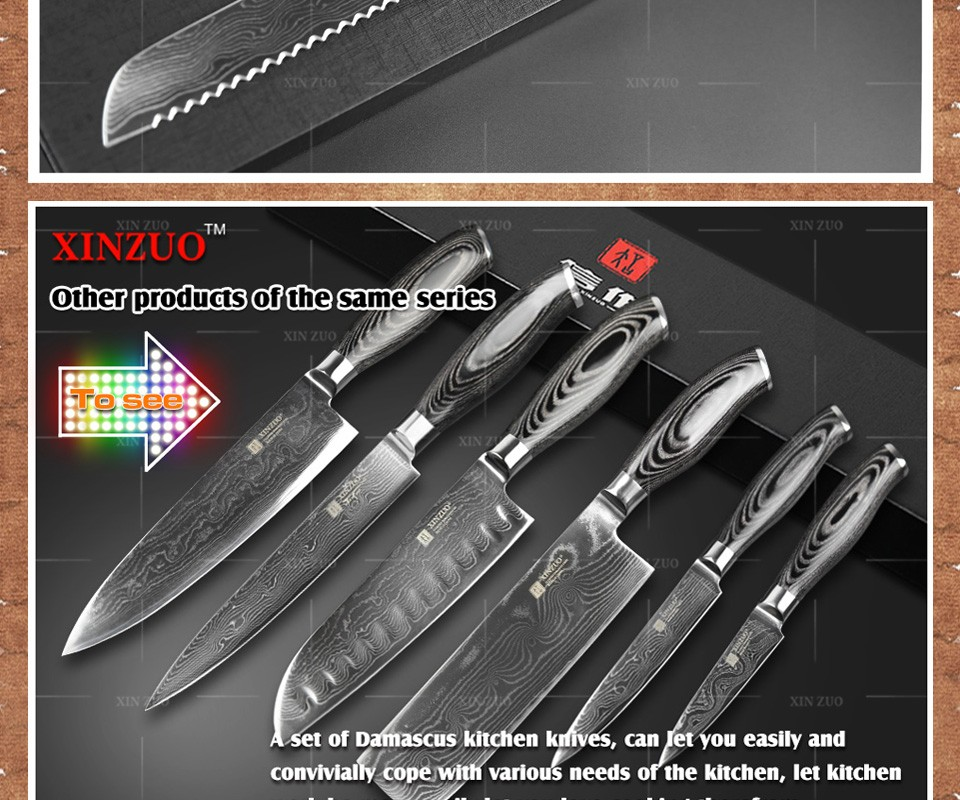 "Buy XINZUO 8"" inch bread knives 73 layers Damascus stainless kitchen knife Japanese VG10 cake knife Color wood handle free shipping cheap"