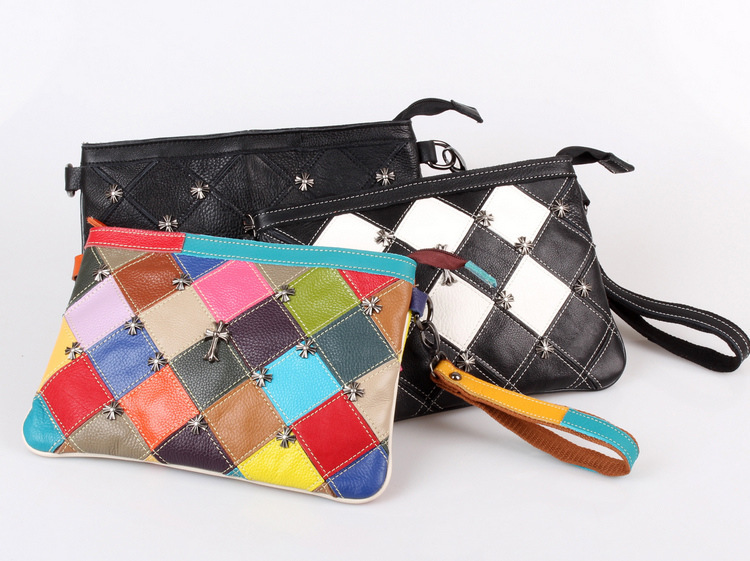 UniCalling Denim handbagsGuangzhou handbags wholesale package features rivet head layer of leather stitching tide envelope clutc(China (Mainland))