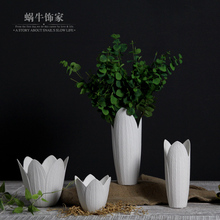 The snail was white petal shaped vase flower simulation packages are living room decor ceramic flower vase(China (Mainland))