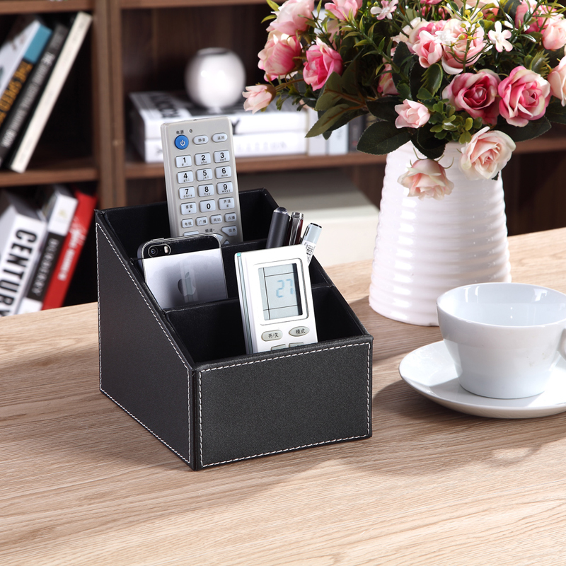 3 Cells Leather Storage Box Desk Decor Stationery Makeup Cosmetic Organizer Remote Control Phone Holder(China (Mainland))