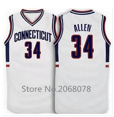 #34 Ray Allen Connecticut Huskies College Throwback Basketball Jerseys, Men's Stitched Embroidery Ray Allen Jersey Blue/White(China (Mainland))