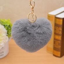 Coração da moda Fofo Faux Pele De Coelho Pompom Bola Pom Pom Keychain Chaveiro Mulheres Saco Encantos Acessórios Trinket Chaveiro Llavero(China)